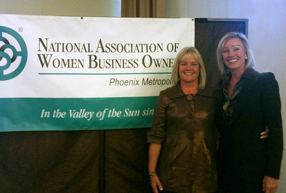 Lori Raudnask and Kim Kiyosaki at NAWBO event, Phoenix, Arizona, September 2009